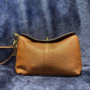 Vintage Coach Pebbled Leather Wristlet - Brown